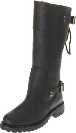HD Women's Alexa Back Lace Black Leather Motorcycle Boots **