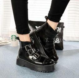 Hot Womens Gothic Rock Platform Motorcycle Ankle Boots Multi