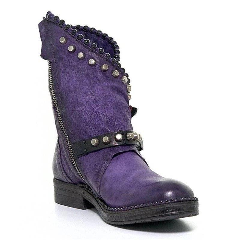 2019 Winter shoes woman Mid-Calf Round <font><b>Low</b></font> Rivet <font><b>Motorcycle</b></font>