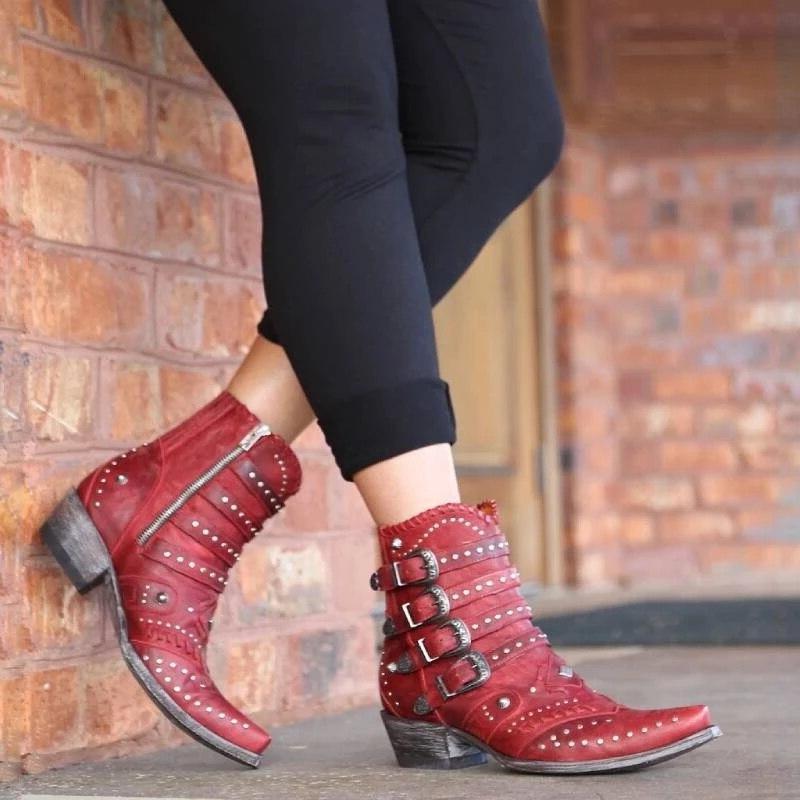 2019 Women Autumn Winter shoes Round Toe women <font><b>Low</b></font> Heel <font><b>Motorcycle</b></font> Rivet