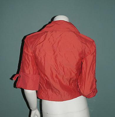 CAbi Cropped Jacket XS Salmon Asymmetric Top