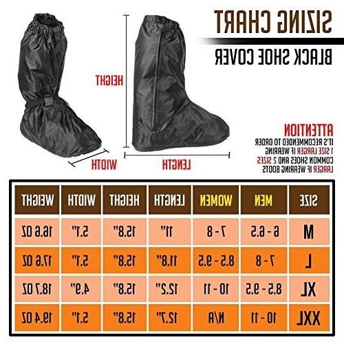 Anti-Slip Covers Motorcycle Boots size Women 8.5-9.5 Oxford Zipper Bands for Outdoor Hiking Camping Fishing -