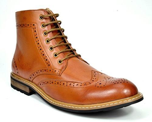 Bruno Marc Men's Bergen-01 Brown Leather Lined Oxfords Dress