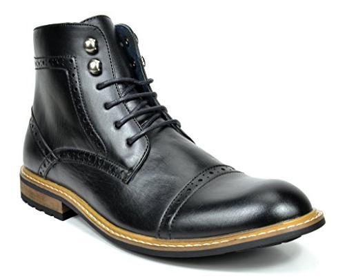 Bruno Marc Men's Bergen-03 Black Leather Lined Oxfords Dress