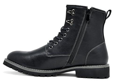 Bruno Marc Men's Black Motorcycle Oxford Boots Size M US
