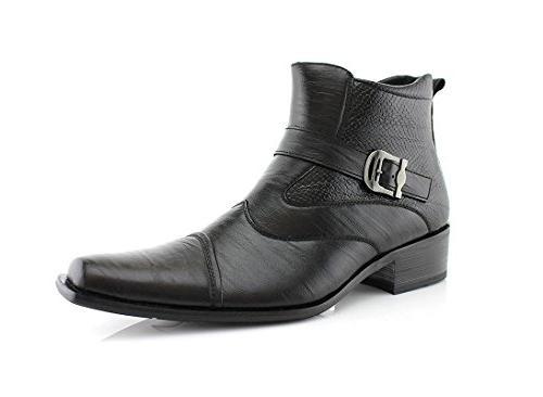 Delli Aldo Men's Ankle High Dress Boots   Buckle Strap   Sho
