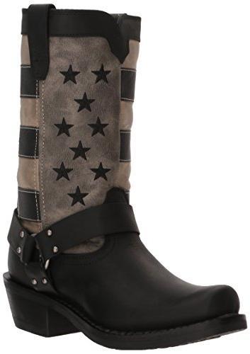 Durango Women's Flag Harness Motorcycle Boot, Black Charcoal