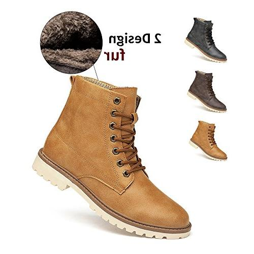 ENLEN\u0026BENNA Men Casual Boots Fashion Combat Boot Chukka Boot Dress Boots  Motorcycle Boot Cap Toe Tan