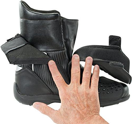 Mens' Leather Motorcycle Boot - Black/Carbon - Size: