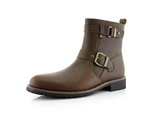 New Men's Modern Motorcycle Riding Tall Zipped Boots, Brown,