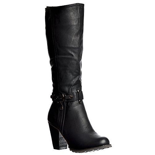 Onlineshoe Women's Tall Knee High Biker Boots With Straps an