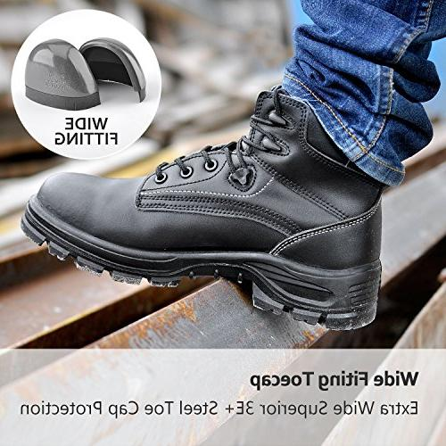 Safetoe Safety Shoes Mens Work Boots Lightweight Leather Steel Toe Lace-up US