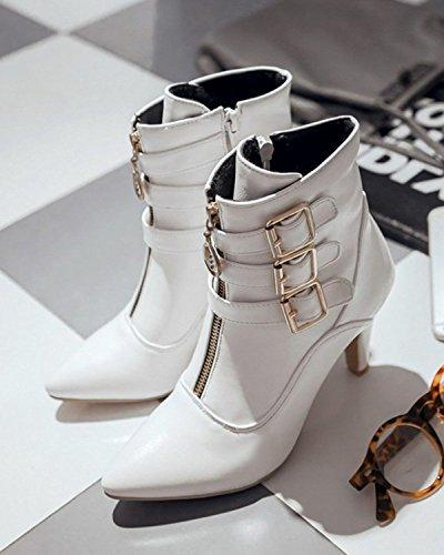 Maybest Mid Calf Leather Boots High Zipper Buckle Cowboy Booties White US