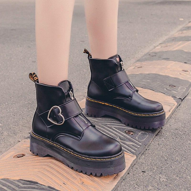 2019 Autumn <font><b>Boots</b></font> Heart Buckle Platform <font><b>Boots</b></font> P092