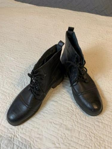 black leather ankle boots buckle men size