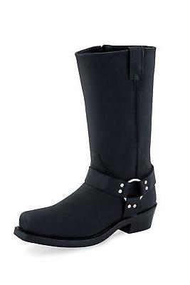 black mens leather harness tall motorcycle boots