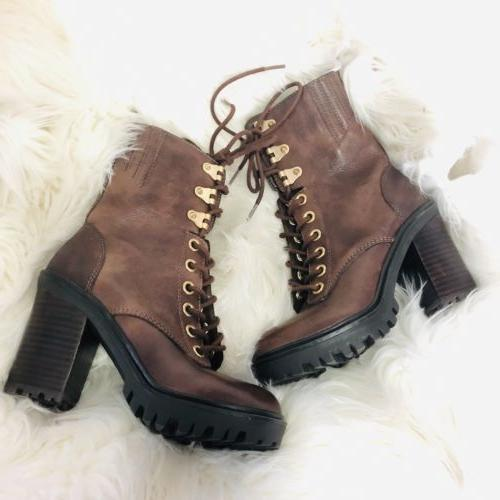 Guess Brown Lace up Low Boots Motorcycle Embellished Booties