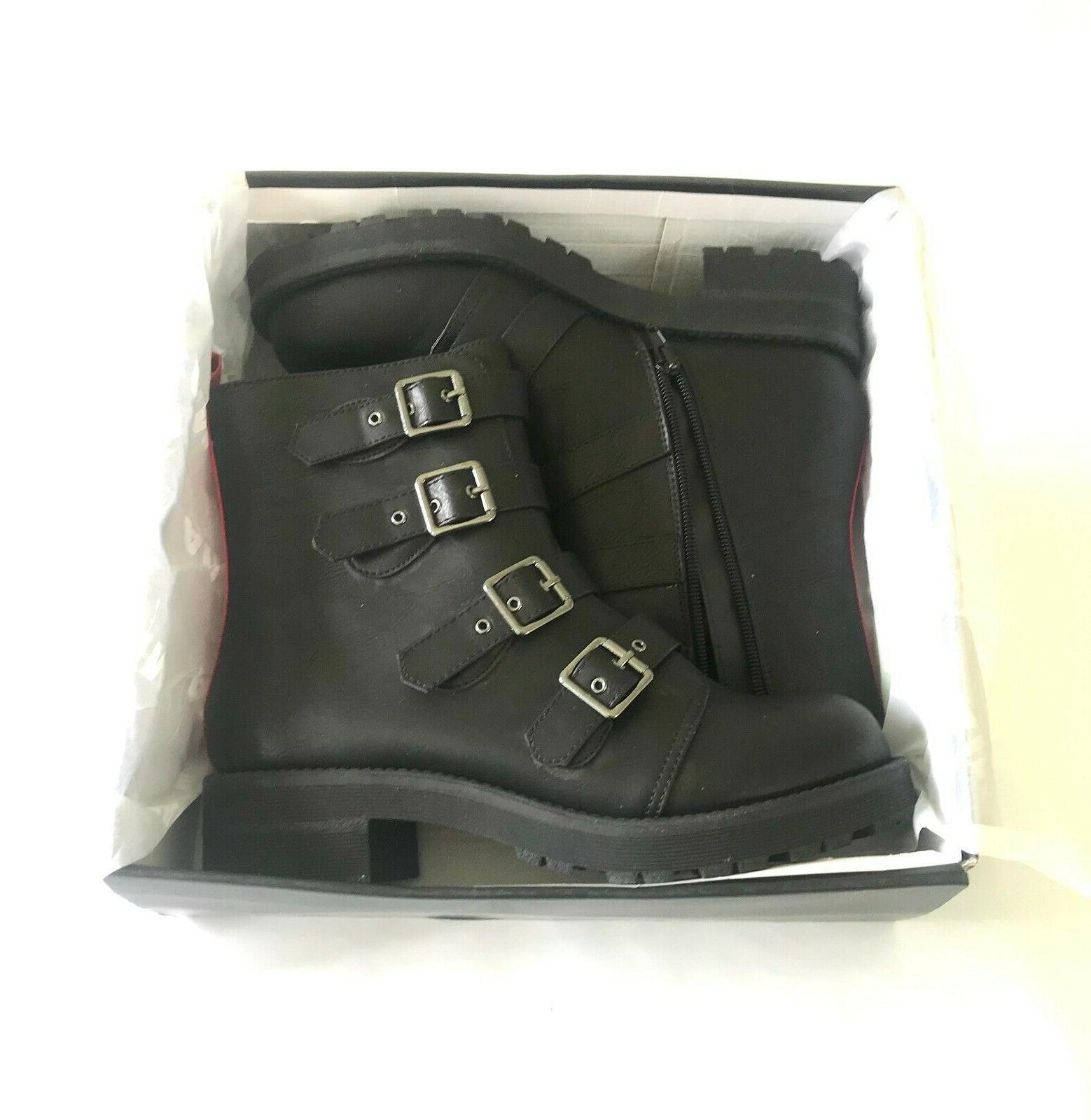 MIA Women's Combat Motorcycle Boots Zip Black