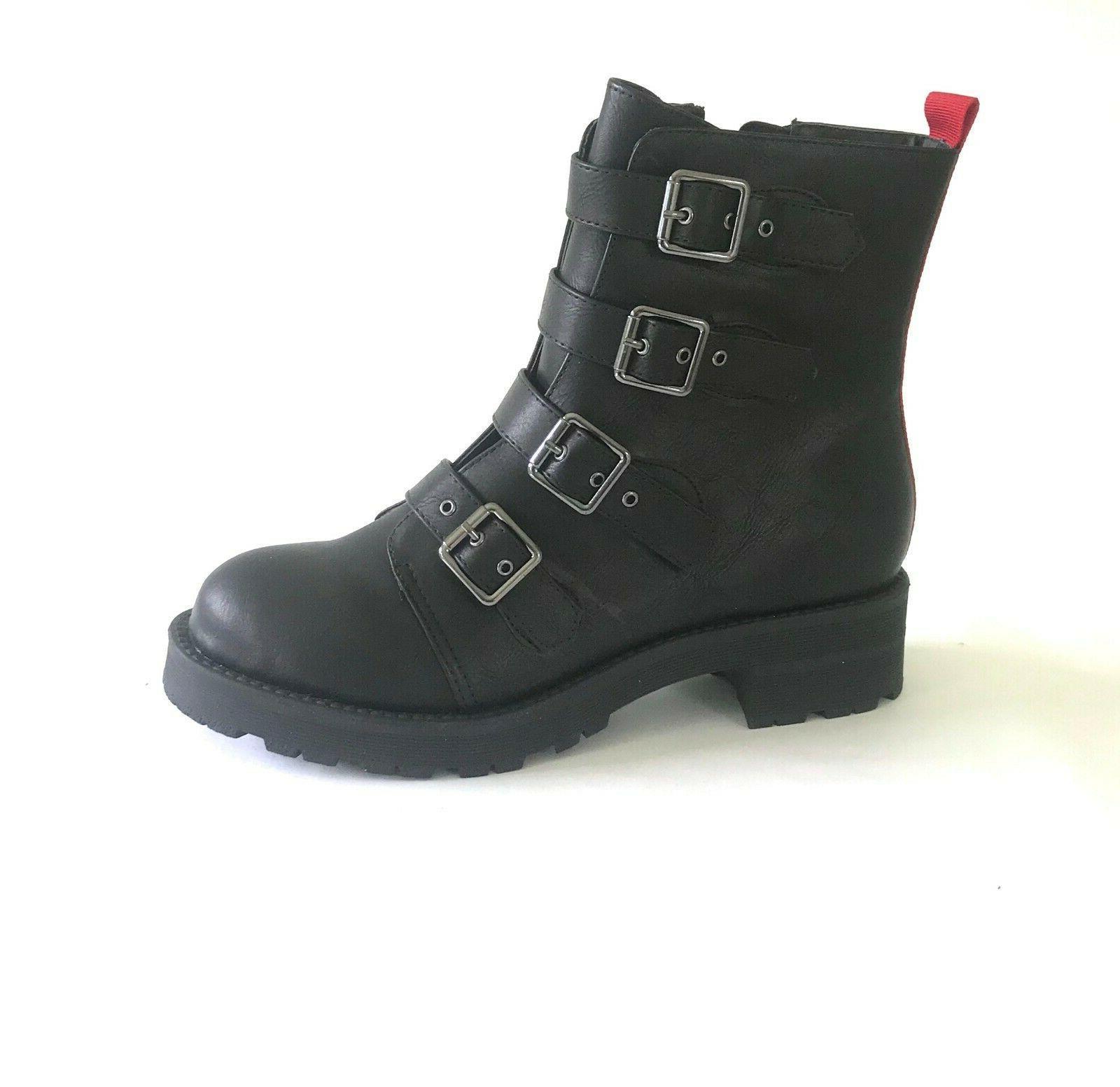 chelsey women s combat motorcycle boots buckles