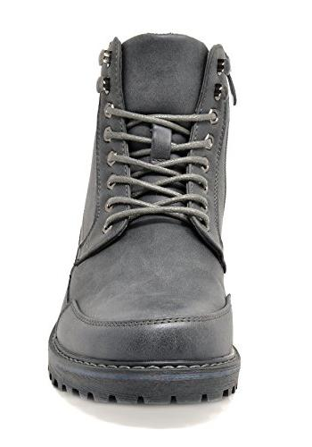 Bruno Men's Grey Motorcycle Combat Boots 10.5 M US