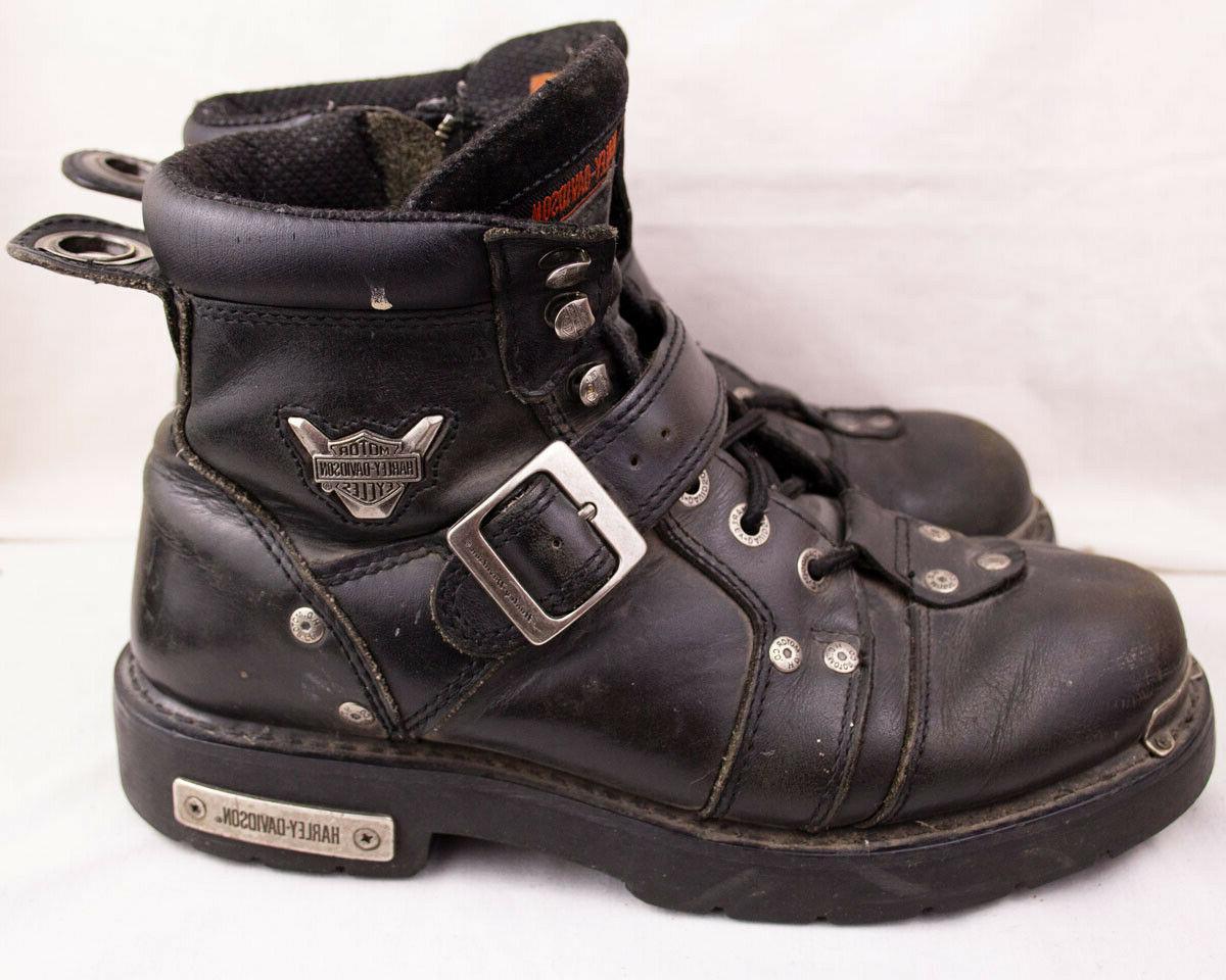 Boots D96083 9.5 Black Leather