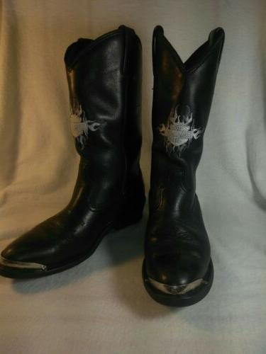 harley davidson black leather cowboy motorcycle boots