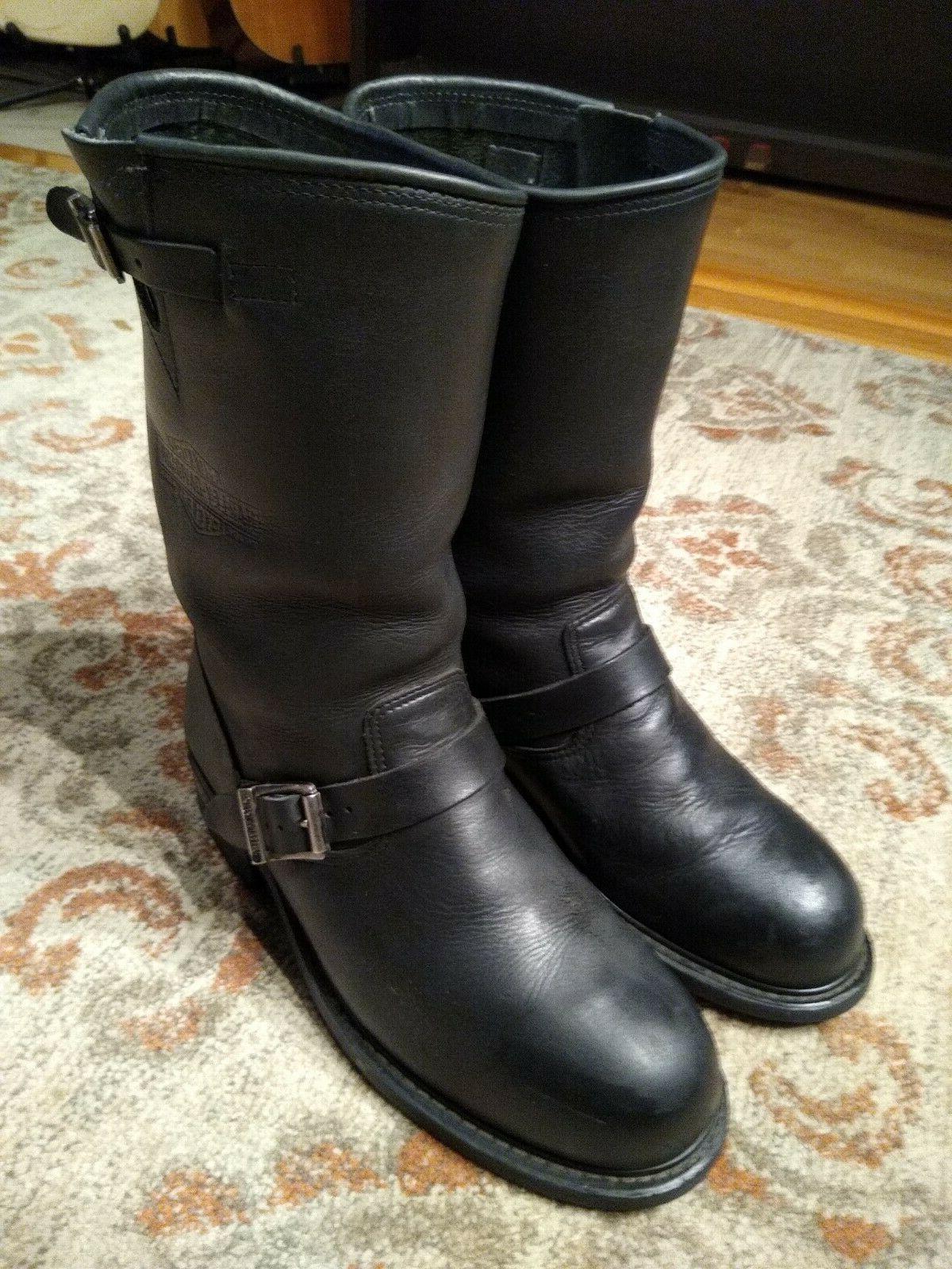 harley davidson black leather soft toe engineer