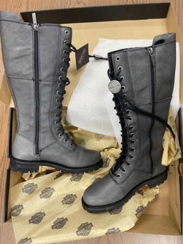 Harley-Davidson Walfield Fashion Motorcycle Boots D84532 Size 8 Grey