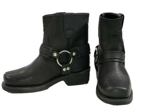 XElement Full Grain Black Harness Motorcycle Work Boots Mens Size