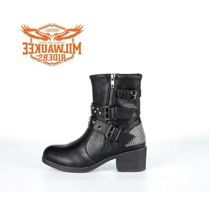 Ladies Black Multi-Studded Buckle Boots Riders®