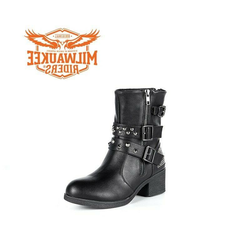 Ladies Zippered Multi-Studded Buckle Boots By Riders®