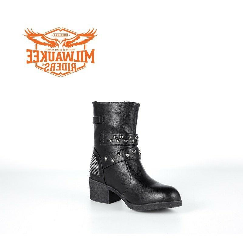 Ladies Zippered Buckle Boots Milwaukee Motorcycle Riders