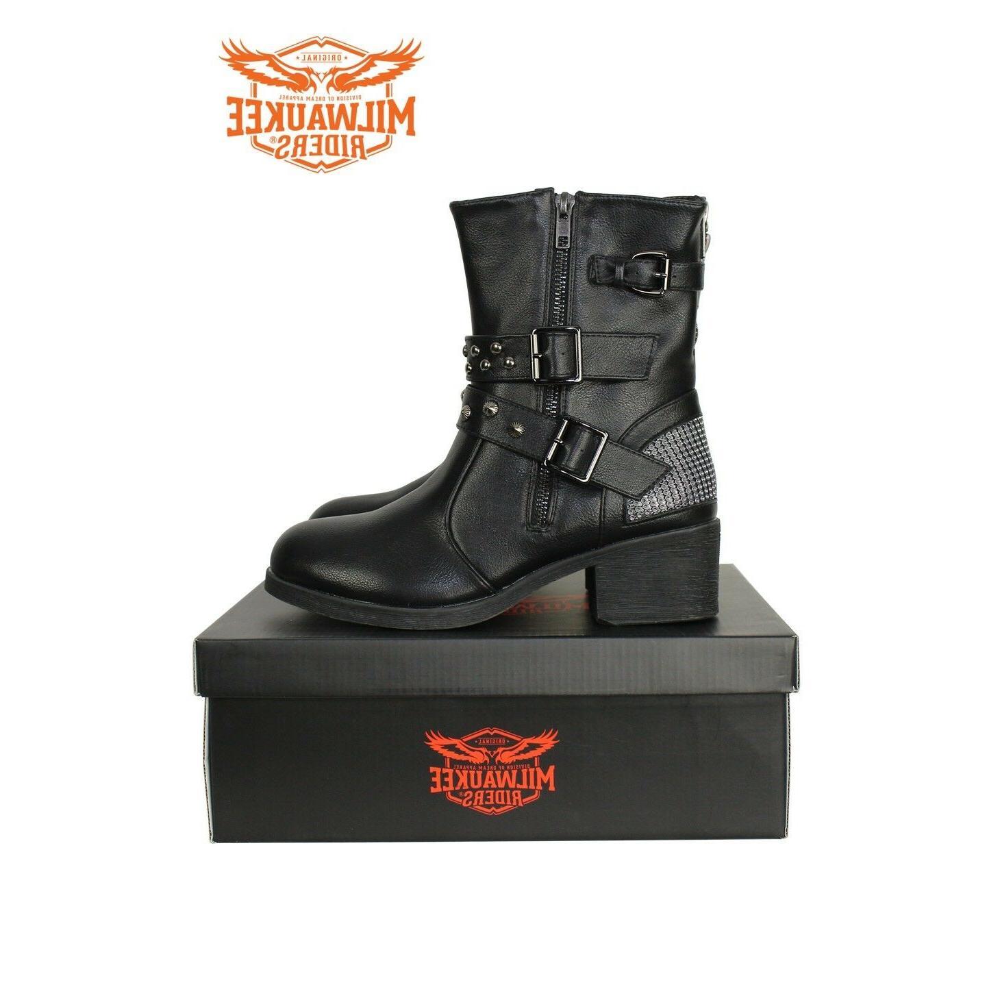 ladies zippered black multi studded buckle boots
