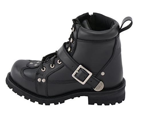 M-BOSS APPAREL Men's Road Captain Leather Boots -BLACK-12