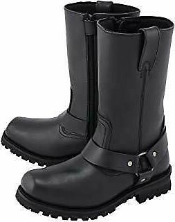 M-Boss mens black leather harness motorcycle boots, size 7