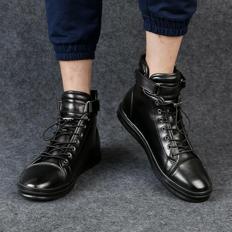 Men Boots Leather Motorcycle Boots