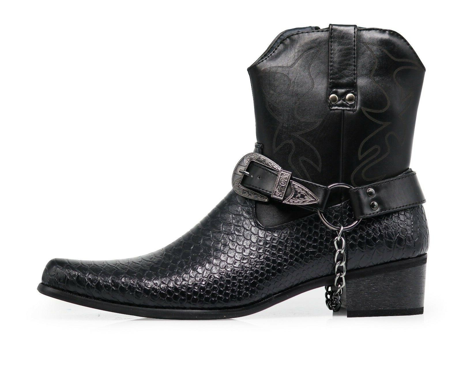 Men Black Boots Leather Line