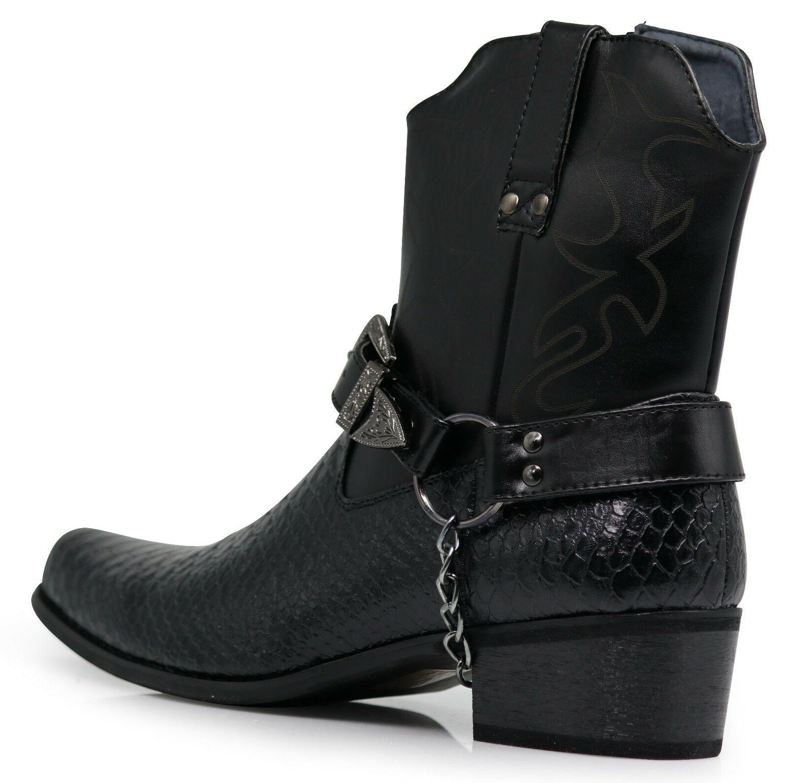 Men Cowboy Western Boots Shoes Leather Motorcycle Print