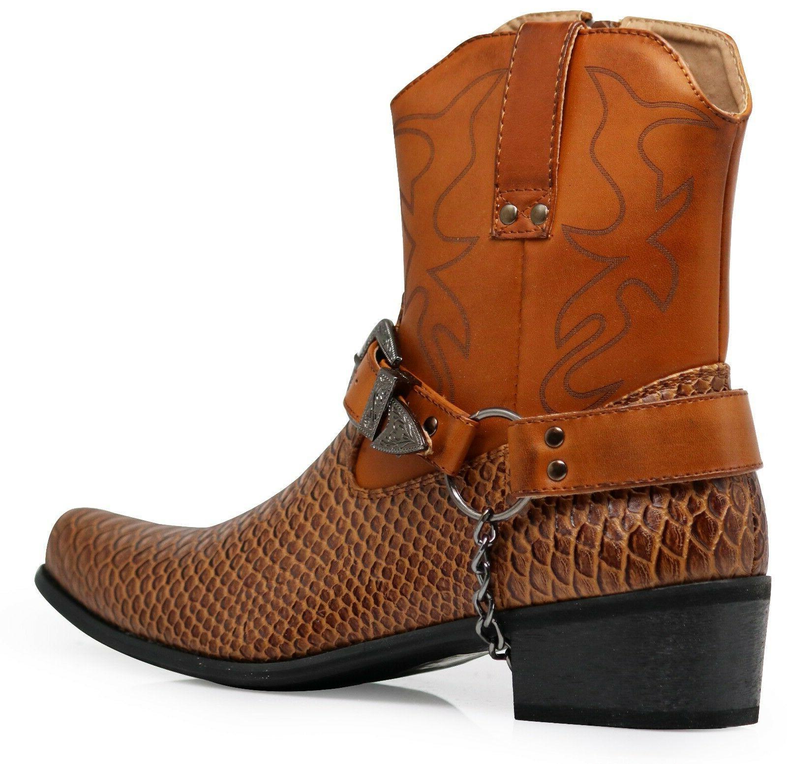 Men Cowboy Boots Shoes Leather Motorcycle Crocodile