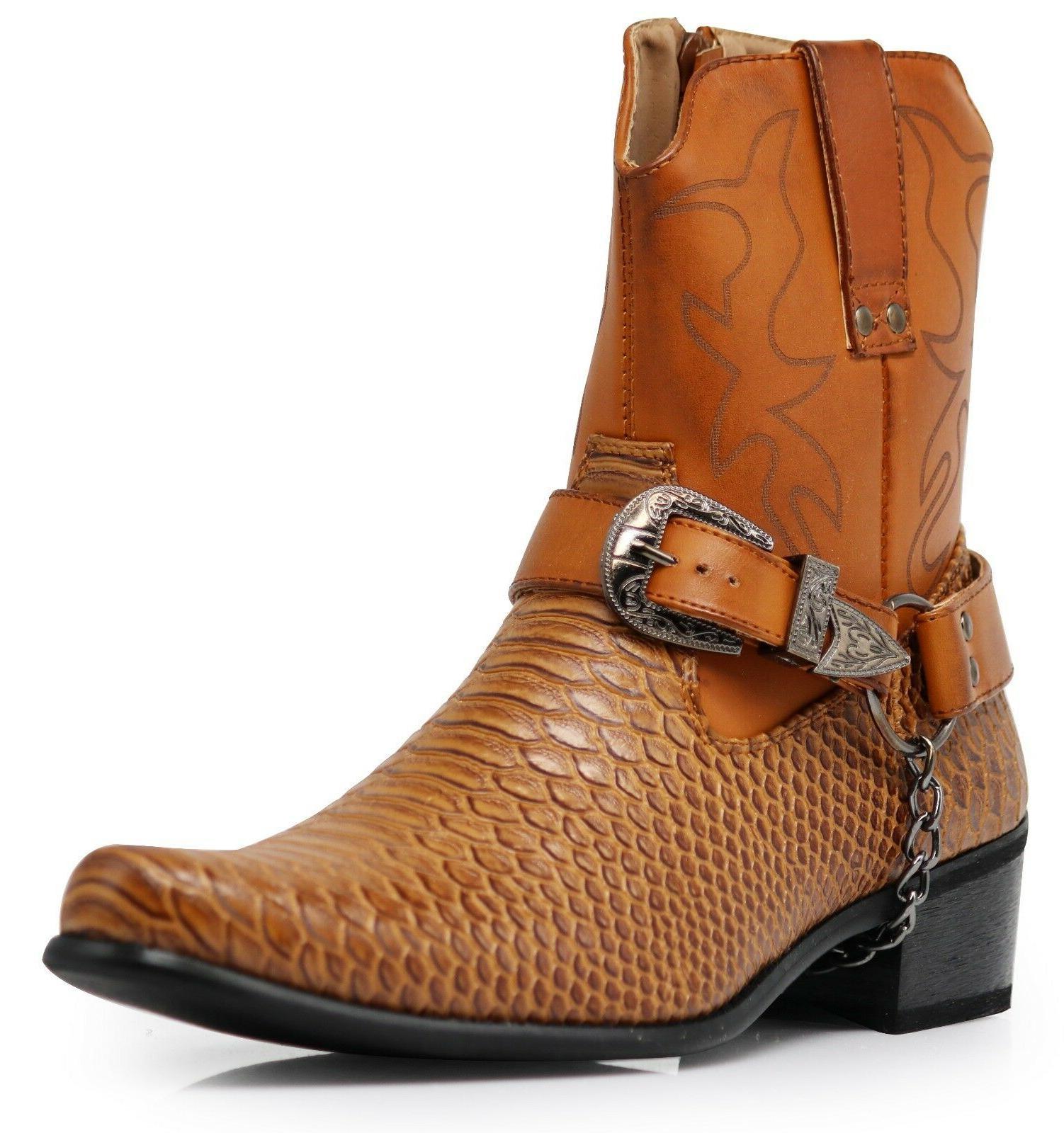 Men Black Cowboy Boots Shoes Line Motorcycle Crocodile