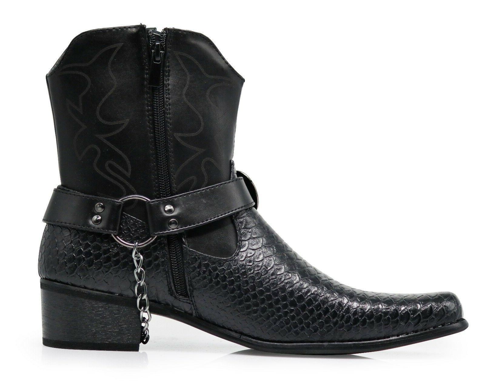 Men Boots Motorcycle Crocodile Print