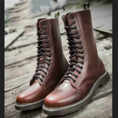 Men's Britain Oxford Leather Boots Motorcycle High Top Tacti