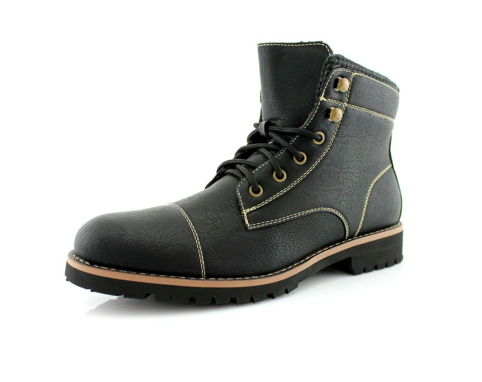 men s casual leather zipper lace up