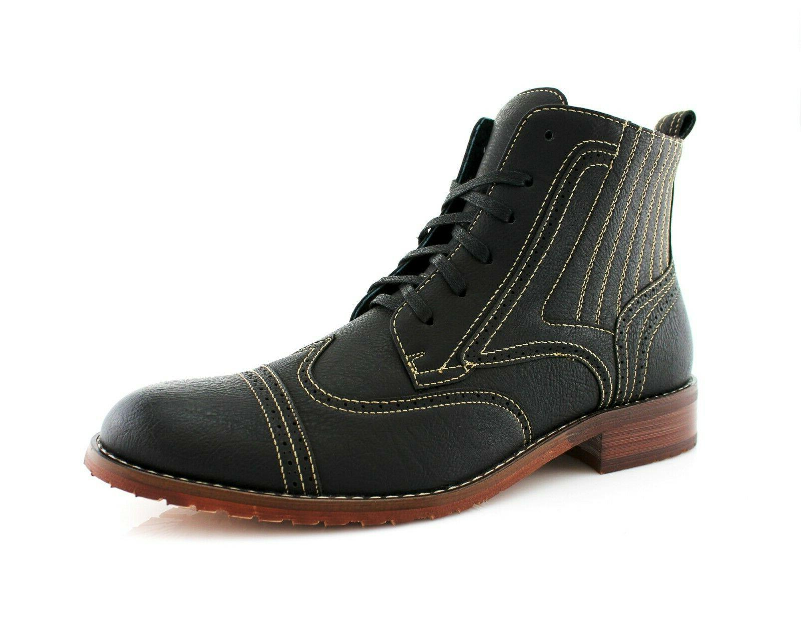 men s contrast stitching lace up mid