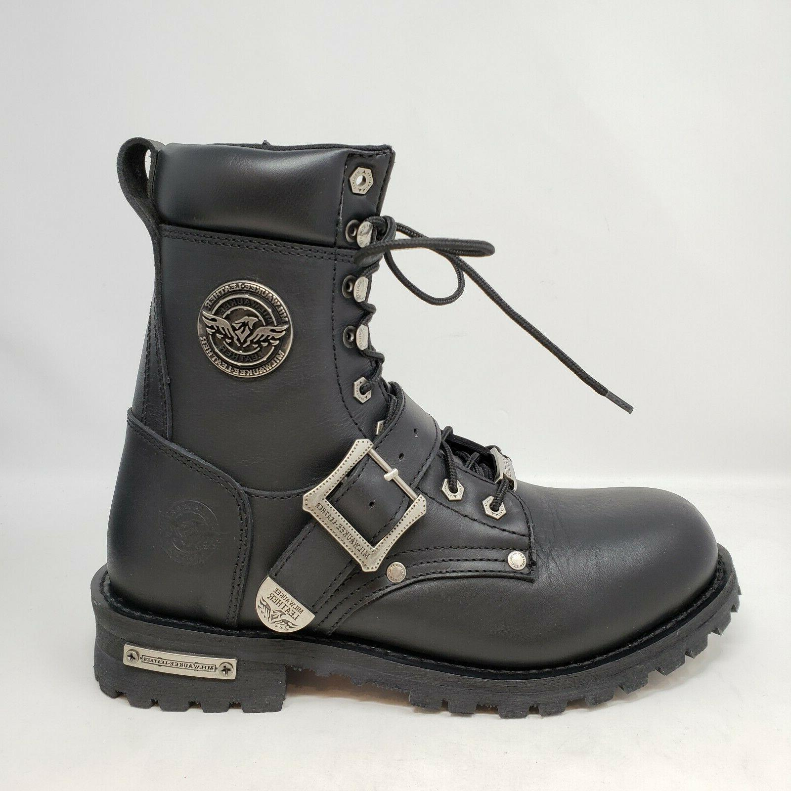 Milwaukee Leather Men's Up Black Engineer Boots 8.5