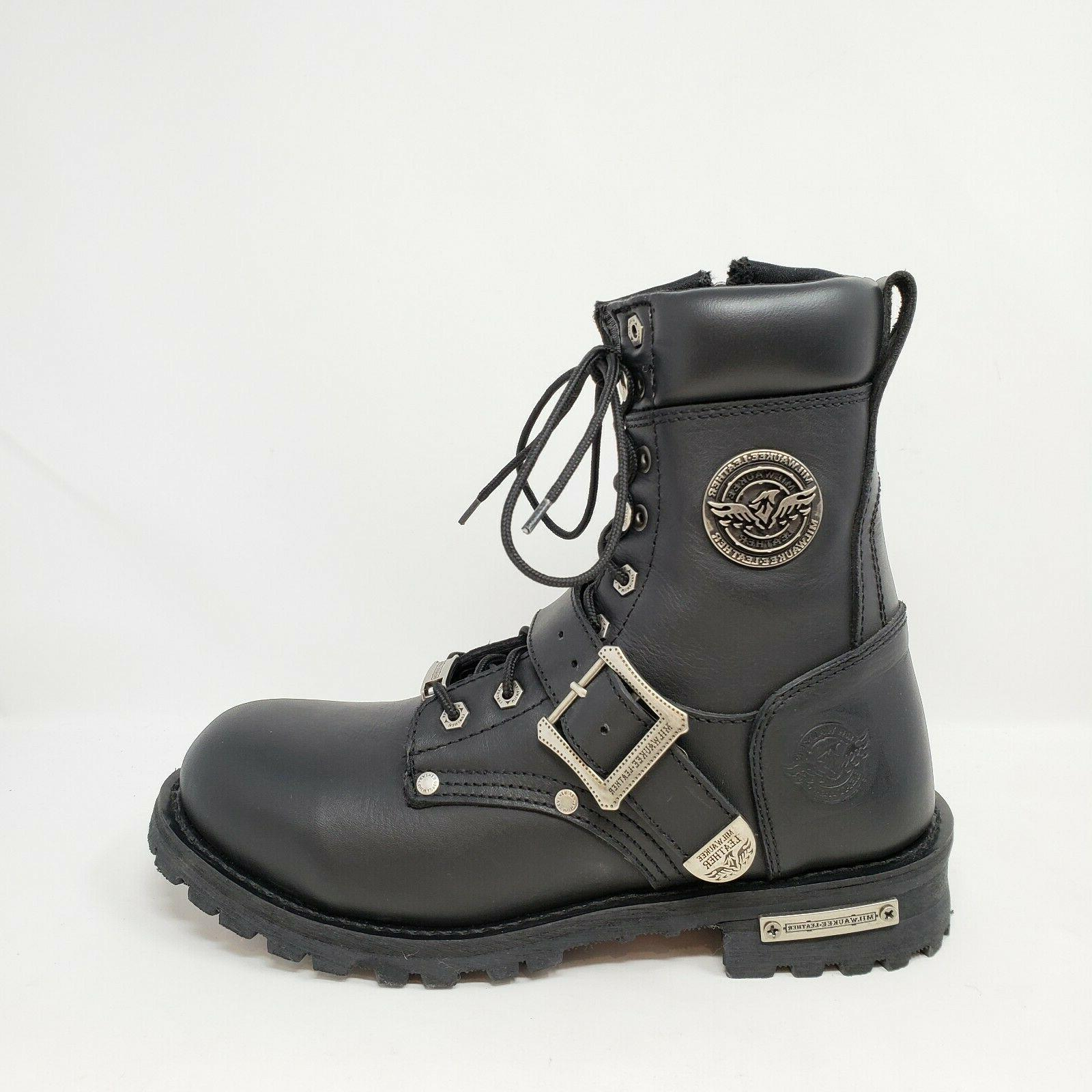 Milwaukee Leather Up Black Engineer Boots Size 8.5