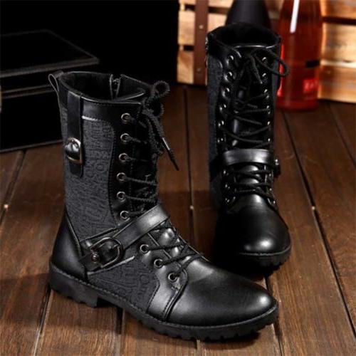 Men's leather Boots Army Military