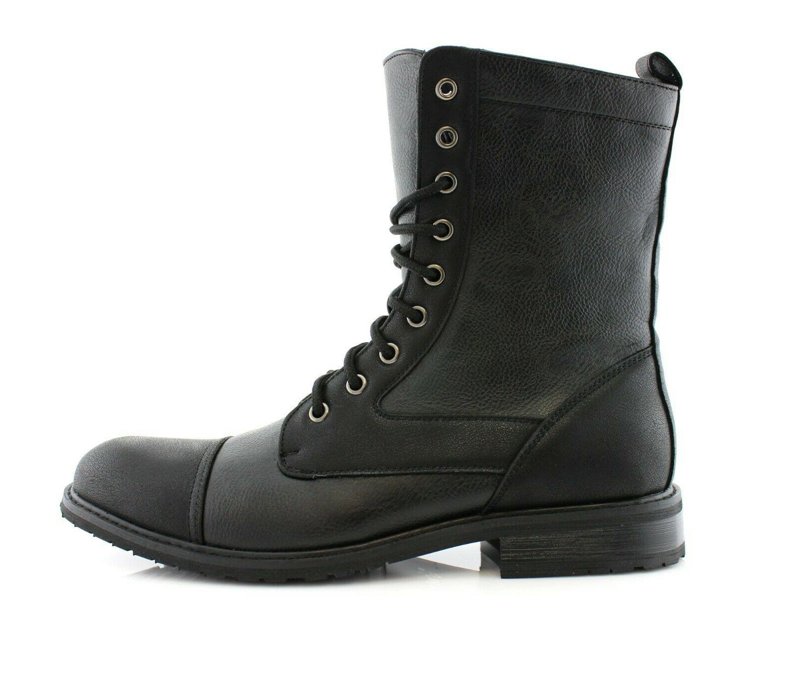 Men's Leather Lace-up Black Ankle Dress Shoes