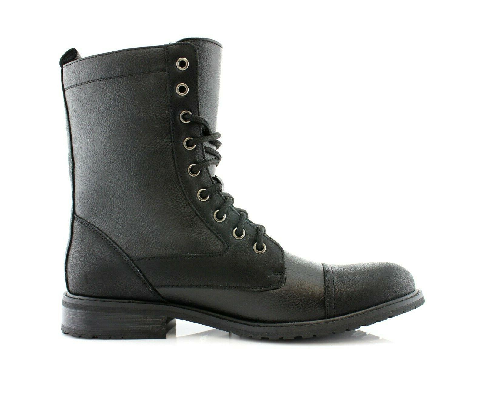 Men's Leather Ankle Motorcycle Combat Dress Boot Shoes