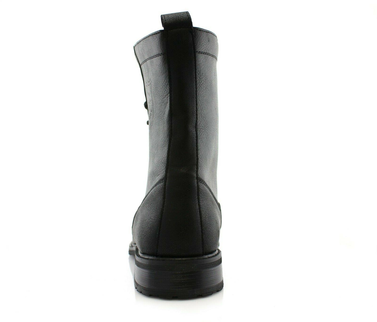 Men's Leather Black Ankle Casual Combat Dress